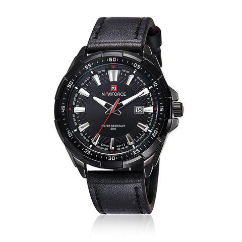 NAVIFORCE 9056 Faux Leather Luminous Date Watch - BLACK LEATHER BAND/BLACK DIAL