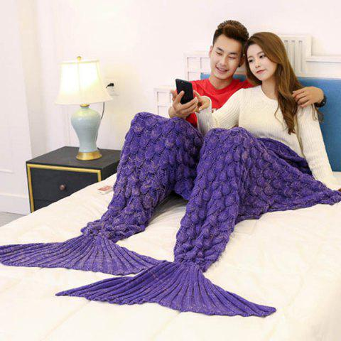 Fish Scale Knitted Pattern Mermaid Blanket For Lovers - PURPLE 180*155CM