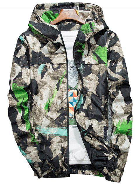 Splatter Paint Camouflage Lightweight Jacket - GREEN 4XL