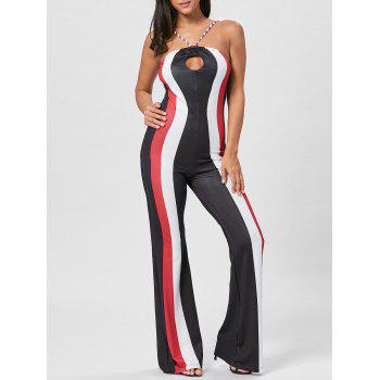 Striped Keyhole Spaghetti Strap Jumpsuit - RED XL