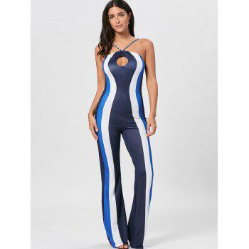 Striped Keyhole Spaghetti Strap Jumpsuit - BLUE S