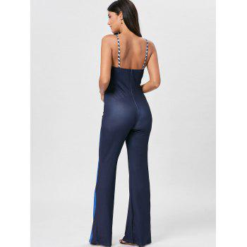 Striped Keyhole Spaghetti Strap Jumpsuit - BLUE L