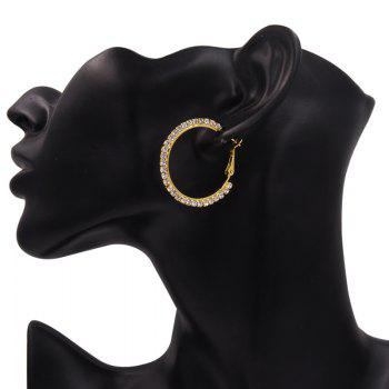 Rhinestones Insert Hoop Earrings - Or