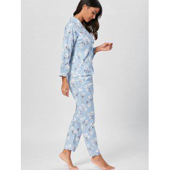 Wrap Floral PJ Set with Sleeves - BLUEBELL L