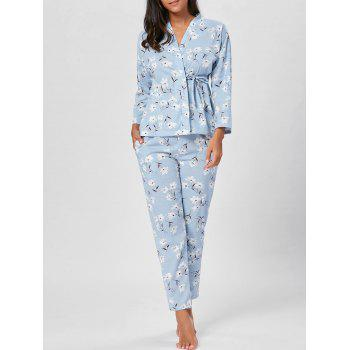 Wrap Floral PJ Set with Sleeves - BLUEBELL M