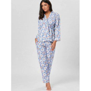 Floral Cotton Wrap Sleepwear Set - FLORAL L