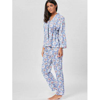 Floral Cotton Wrap Sleepwear Set - FLORAL FLORAL