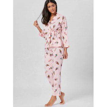 Ice Cream Print Wrap Cotton PJ Set - Rose Clair 2XL