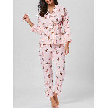 Ice Cream Print Wrap Cotton PJ Set