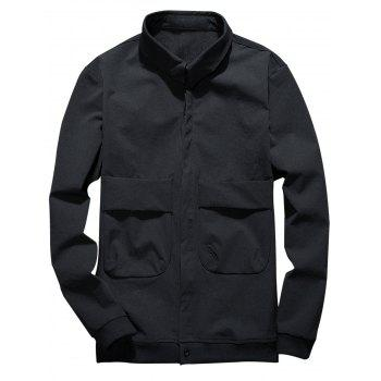 Cover Placket Double Pockets Design Cargo Jacket