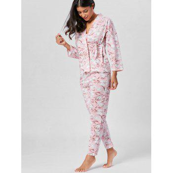 Floral Wrap PJ Set with Sleeves - LIGHT PINK L