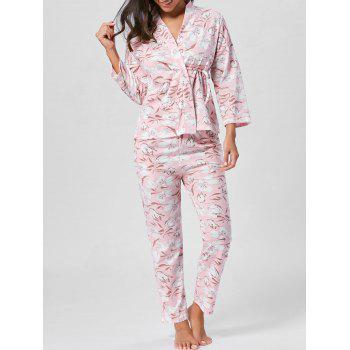 Floral Wrap PJ Set with Sleeves - LIGHT PINK M