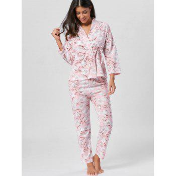 Floral Wrap PJ Set with Sleeves - LIGHT PINK 2XL