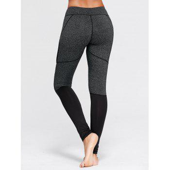 Two Tone Workout Leggings with Mesh - S S