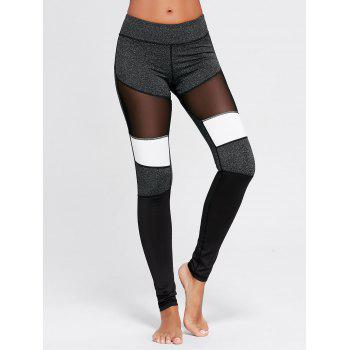 Two Tone Workout Leggings with Mesh - GRAY GRAY