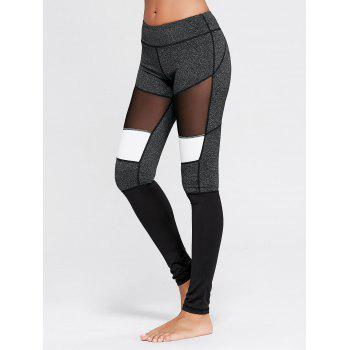 Two Tone Workout Leggings with Mesh - GRAY L