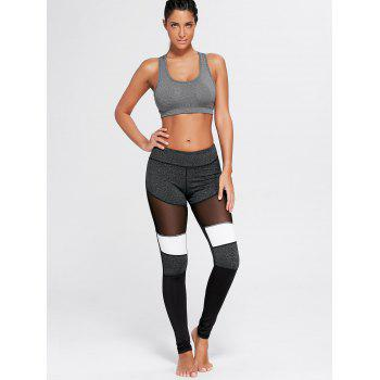 Two Tone Workout Leggings with Mesh - L L