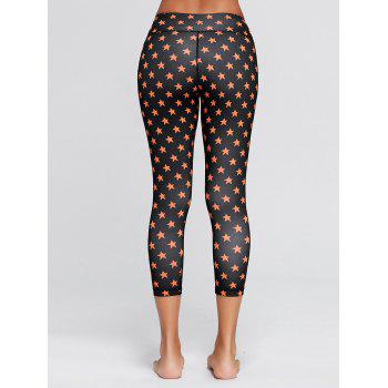 Stars Printed Fitness Tights - BLACK BLACK