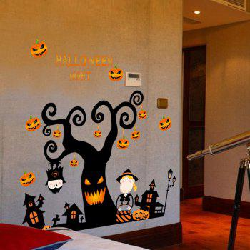 Cartoon Halloween Tree Shape DIY Wall Stickers - BLACK