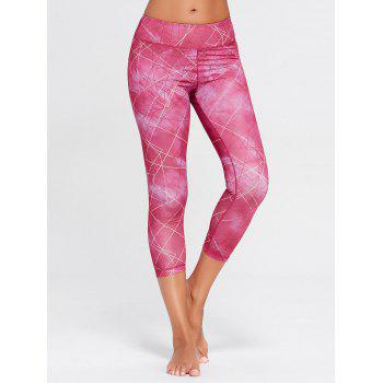 Printed Capri Workout Tights With Pocket - L L
