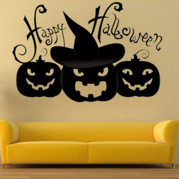 DIY Halloween Pumpkin Shape Decoration Wall Stickers - BLACK BLACK