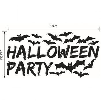 DIY Halloween Bats Home Decor Wall Stickers - BLACK