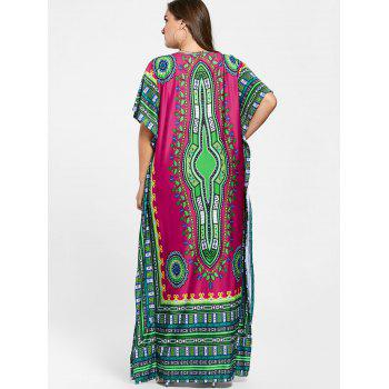 V Neck Tribal Print Plus Size Long Dress - ROSE RED ONE SIZE