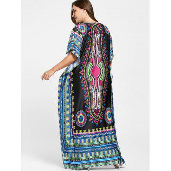 V Neck Tribal Print Plus Size Long Dress - ONE SIZE ONE SIZE