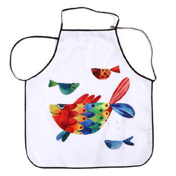 Cartoon Art Fish Fabric Apron Kitchen Product - WHITE 80*70CM