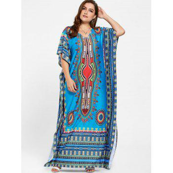 V Neck Tribal Print Plus Size Long Dress - BLUE BLUE