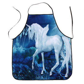 Unicorn Print Cooking Waterproof Apron - BLUE 80*70CM