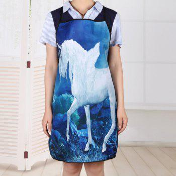 Unicorn Print Cooking Waterproof Apron - BLUE BLUE