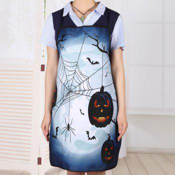 Household Kitchen Halloween Theme Print Apron - DEEP BLUE DEEP BLUE