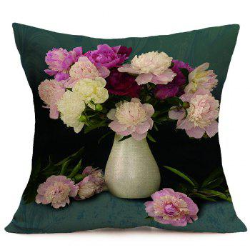 Peony Flower Printed Square Pillow Case - COLORMIX W18 INCH * L18 INCH