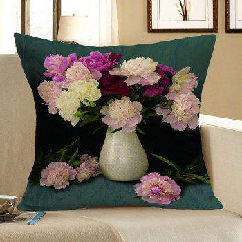 Peony Flower Printed Square Pillow Case