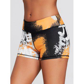Hit Color Tie Dye Tight Sports Shorts - MULTICOLOR L