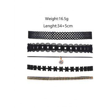 5 Pieces Punk Layered Choker Necklace -  BLACK