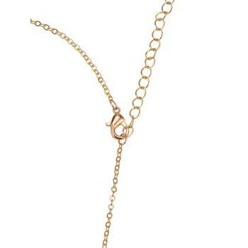 Rhinestone Hollow Nameplate Necklace -  GOLDEN