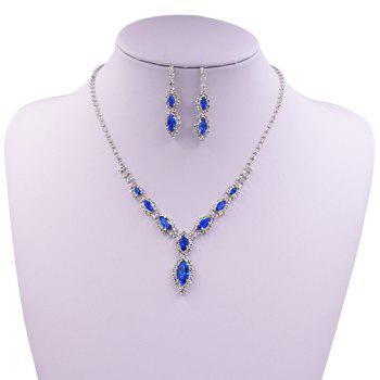 Rhinestones Infinity Necklace and Earrings - BLUE BLUE