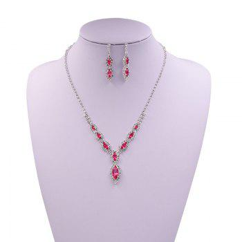 Rhinestones Infinity Necklace and Earrings - PINK PINK