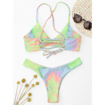 Tie Dye Braided Criss Cross Bikini Set - LIGHT YELLOW L