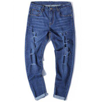 Tapered Fit Zip Fly Jeans with Multi Rips - DENIM BLUE 34