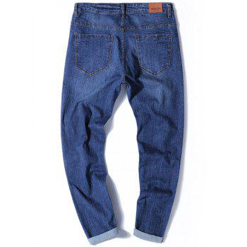 Tapered Fit Zip Fly Jeans with Multi Rips - DENIM BLUE DENIM BLUE