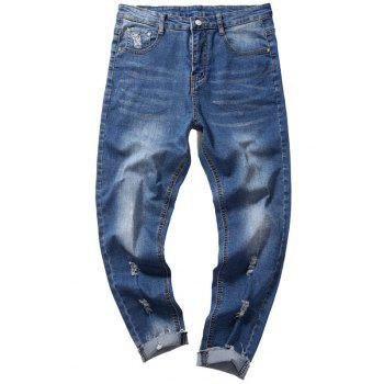 Taper Fit Destroyed Nine Minutes of Jeans - DENIM BLUE 32