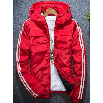 Stripe Hooded Zip Up Down Jacket - RED RED