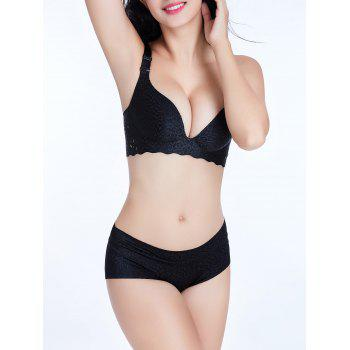 Seamless Jacquard Scalloped Trim Bra - BLACK 85C
