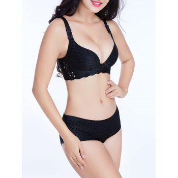 Seamless Jacquard Scalloped Trim Bra - BLACK 90C