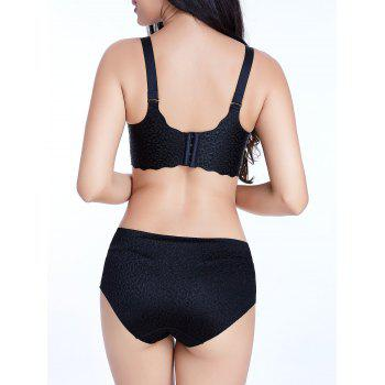 Seamless Jacquard Scalloped Trim Bra - BLACK 95C