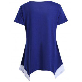 Color Block Asymmetrical Tunic T-shirt - BLUE BLUE