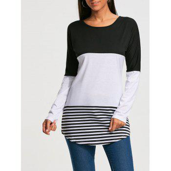 Long Sleeve Color Block Striped T-shirt - BLACK M
